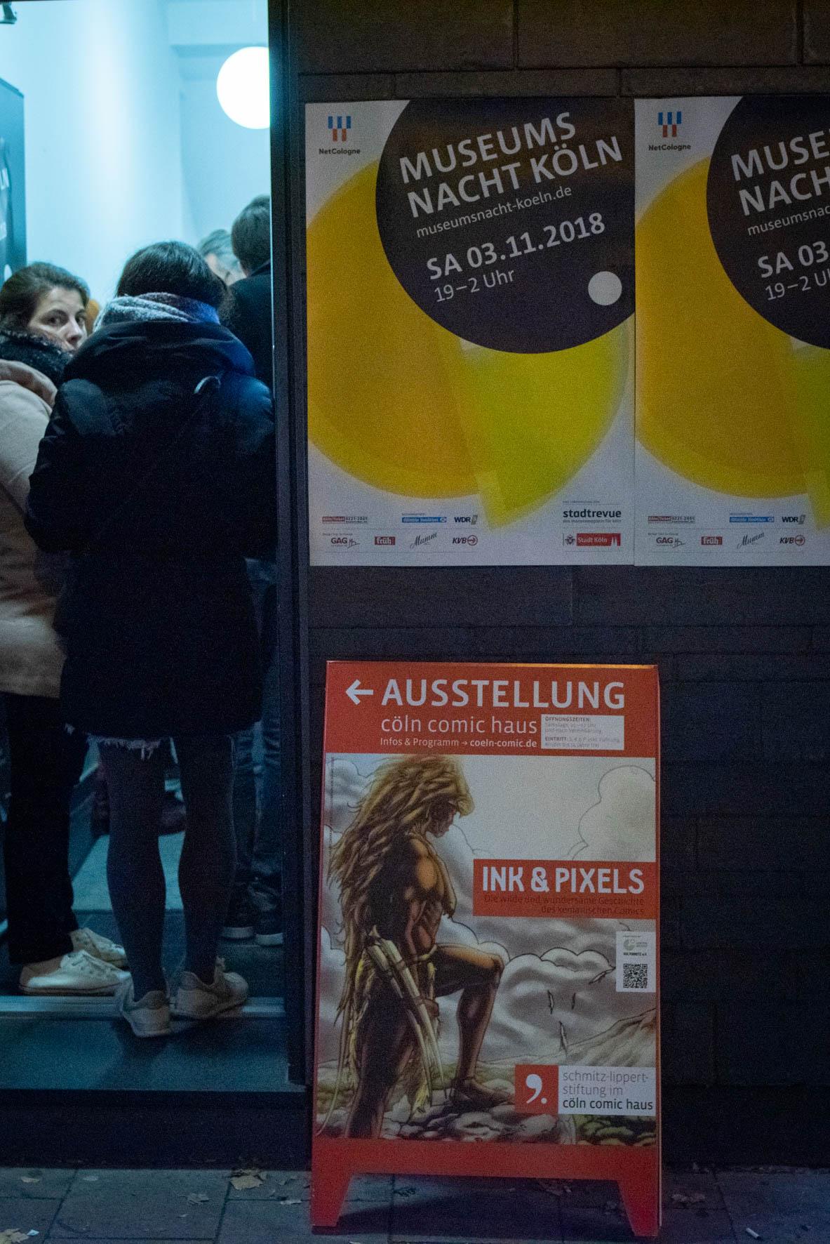 """Museumsnacht 2018 im Cöln Comic Haus - Wegweiser in die aktuelle Ausstellung """"Ink & Pixels"""""""
