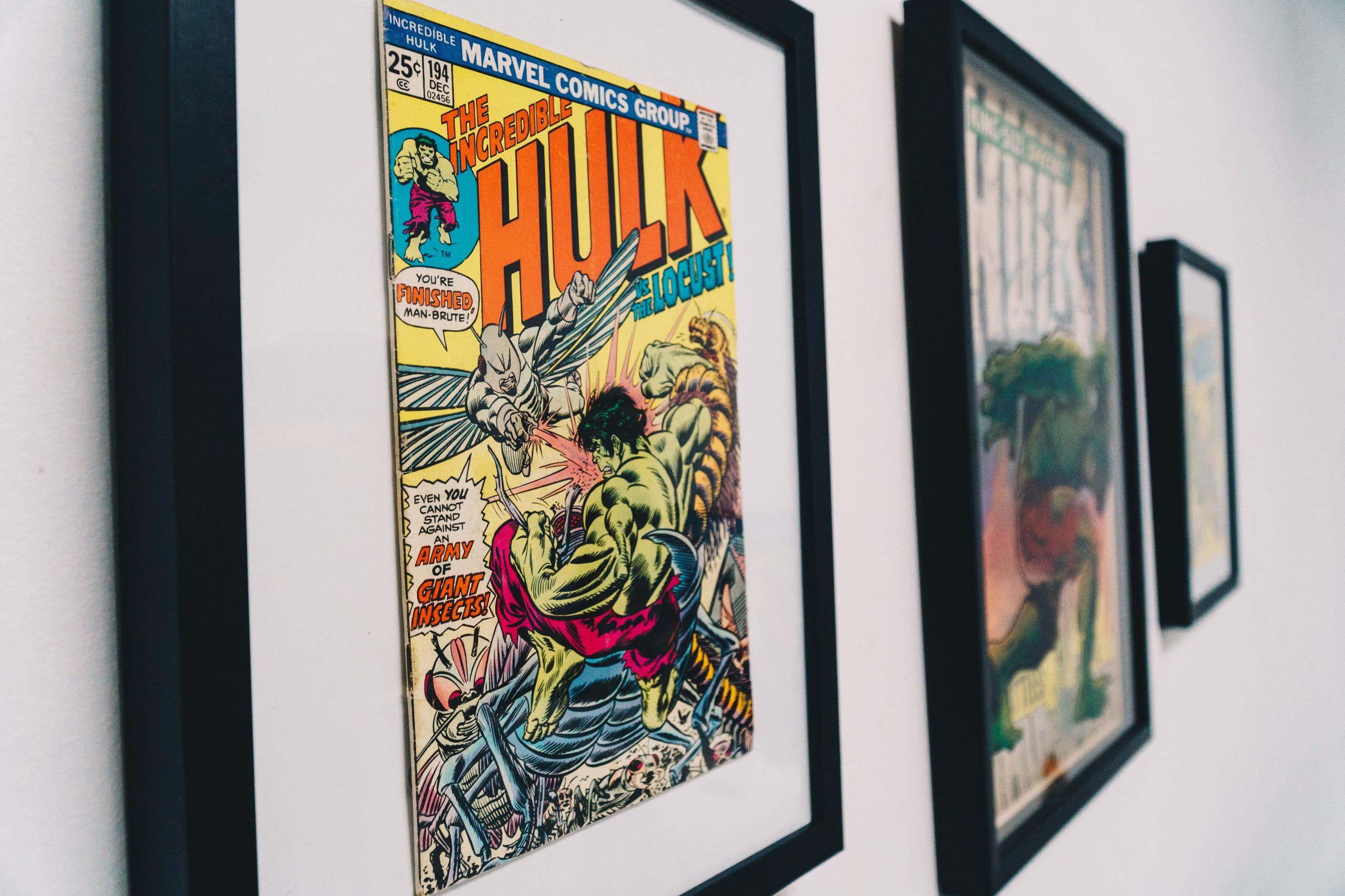 """Foto des gerahmten Originalheftes #194 aus der Serie """"The Incredible Hulk"""", Vol.1, Dezember 1995."""